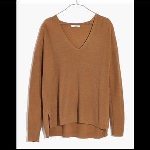Madewell Warmlight V-Neck Heather Earth Sweater